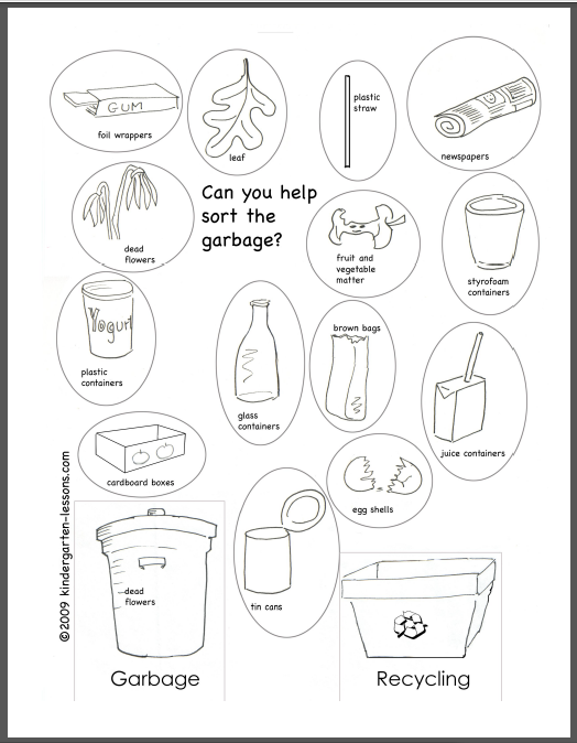 Worksheets Recycling For Kids Worksheets recycling for kids 2 kindergarten lessons